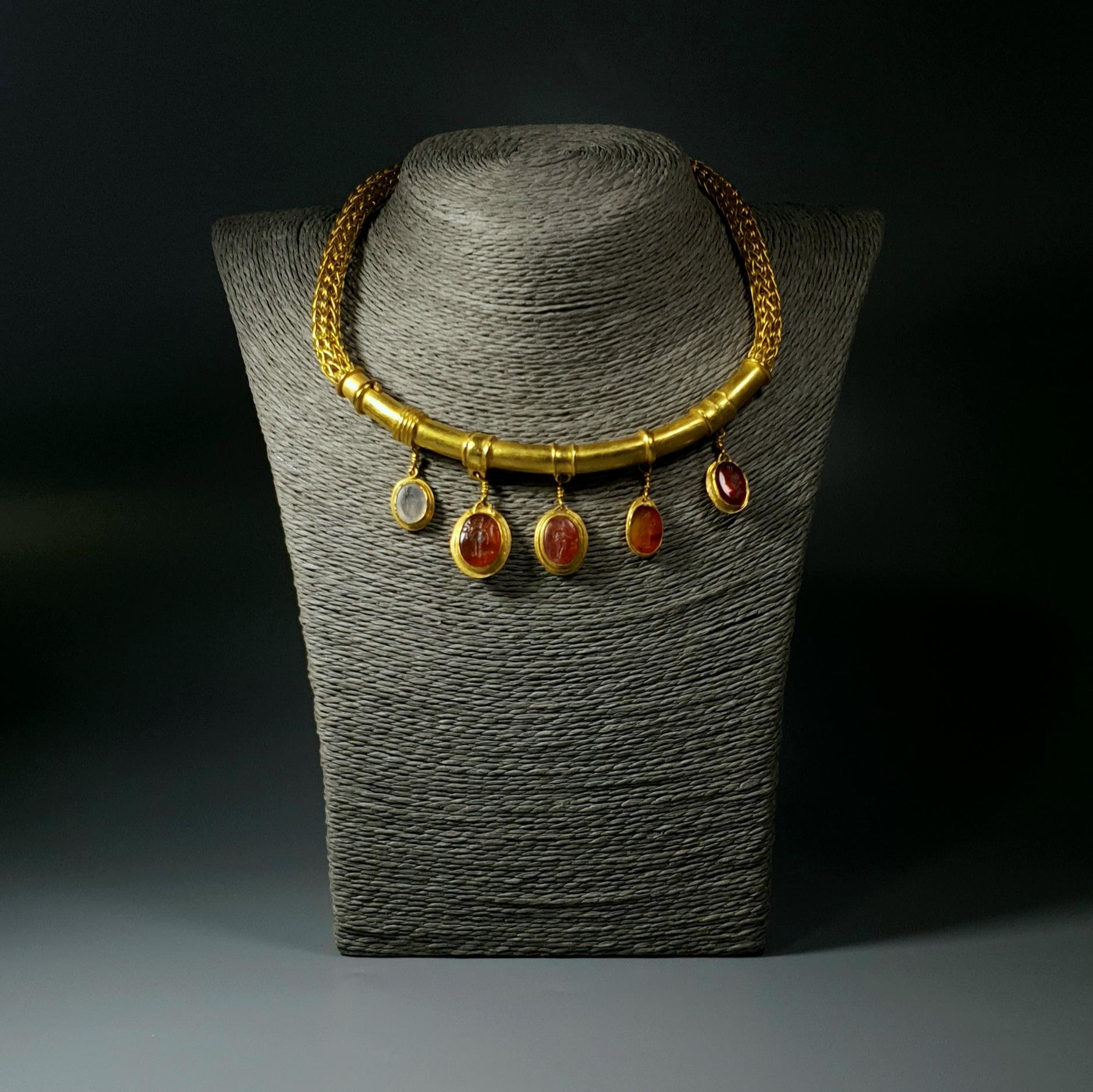 Antique Jewelry Gold Necklace Gemstones
